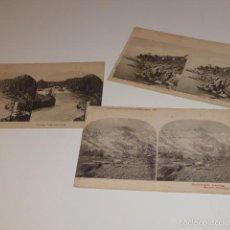 Fotografía antigua: LOTE 3 POSTALES DOBLES, TIPO ESTEREOSCOPICA, ANTIGUAS. Lote 56212203