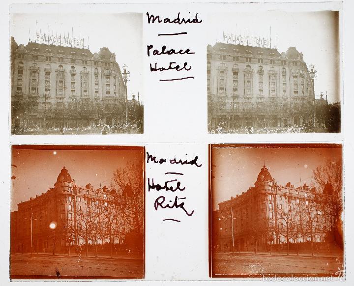 MADRID, HOTEL RITZ, PALACE. 1920'S. 2 CRISTALES POSITIVOS ESTEREO 10X4CM. (Fotografía Antigua - Estereoscópicas)
