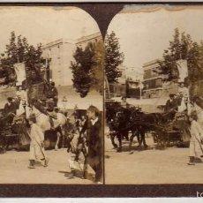 Fotografía antigua: ESTEREOSCÓPICA. DESFILE DE UNA CARROZA, CABALGATA . MODERNA STEREOSKOPO BARCELONA. . Lote 57345491