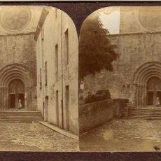 Fotografía antigua: MODERNA STEREOSKOPO. BARCELONA. PORTADA IGLESIA. LIBRERÍA DE FRANCISCO CIGANDA. . Lote 57976562