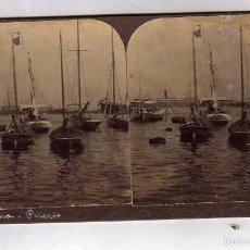 Fotografía antigua: MODERNA STEREOSKOPO. BARCELONA. PUERTO 17,50 X 8,50 CM . Lote 57993662