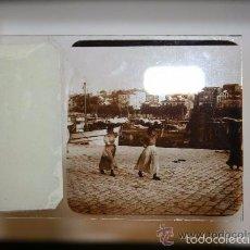 Fotografía antigua: LOTE DE 15 ESTEROSCÓPICAS EN CRISTAL. SANTANDER: VENDEDORAS DE PESCADO, REGATAS, ETC. Lote 58013726
