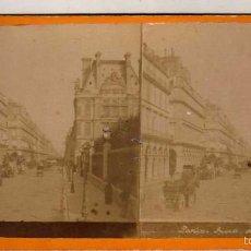 Fotografía antigua: PRECIOSA ESTEREOSCÓPICA PARIS. CALLE DE RIVOLI. 17 X 8 CM. Lote 58195519