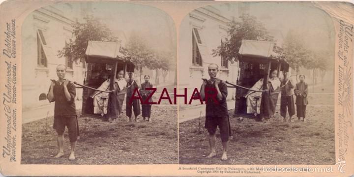 CANTON, CHINA, 1900, UNA JOVEN CHINA EN EL PALANQUIN, JUNTO A SUS ASISTENTES, (Fotografía Antigua - Estereoscópicas)