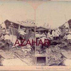 Fotografía antigua: TONGU, CHINA, TROPAS RUSAS DESTRUYENDO CASAS REFUGIO DE LOS BOXERS. Lote 58386800