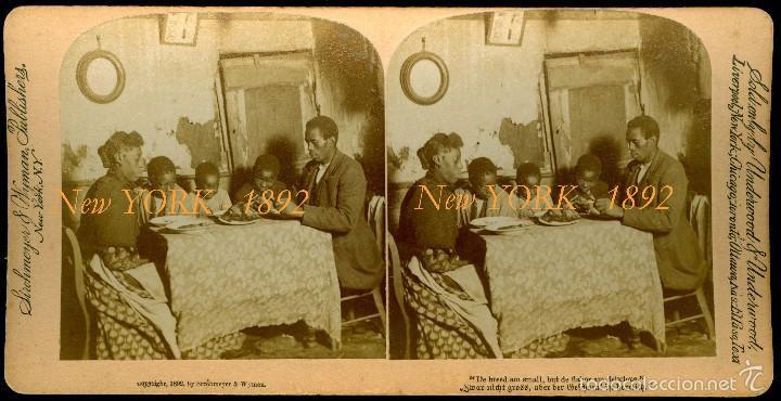 NEW YORK - 1892 - DISCRIMINACIÓN Y POBREZA (Fotografía Antigua - Estereoscópicas)