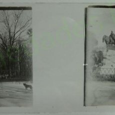 Fotografía antigua: FOTOGRAFÍA ESTEREOSCÓPICA DE CRISTAL. MONUMENTO A MARTÍNEZ CAMPOS. RETIRO. MADRID (10,5 X 4,5 CM). Lote 60333639
