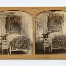Fotografía antigua: TISSUE COLOREADO. DORMITORIO DE MARIA ANTONIETA. PALACIO DE TRIANON. VERSALLES. PHOTOGRAPHIE G.A.F.. Lote 60454699
