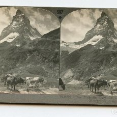 Fotografía antigua: MONTE MATTERHORN, ALPES SUIZOS. SUIZA. KEYSTONE VIEW COMPANY. COPYRIGHTED MADE IN U.S.A. MANUFACT. Lote 61394135
