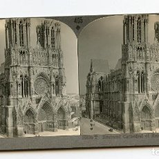 Fotografía antigua: CATEDRAL DE REIMS, FRANCIA. KEYSTONE VIEW COMPANY. COPYRIGHTED MADE IN U.S.A. MANUFACTURERS & PUB. Lote 61395183