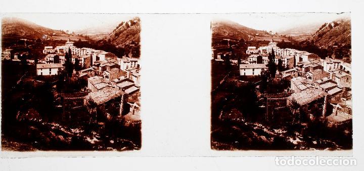 PUEBLO POR IDENTIFICAR, CATALUÑA, 1915 APROX. CRISTAL POSITIVO ESTEREO 10X4CM. (Fotografía Antigua - Estereoscópicas)