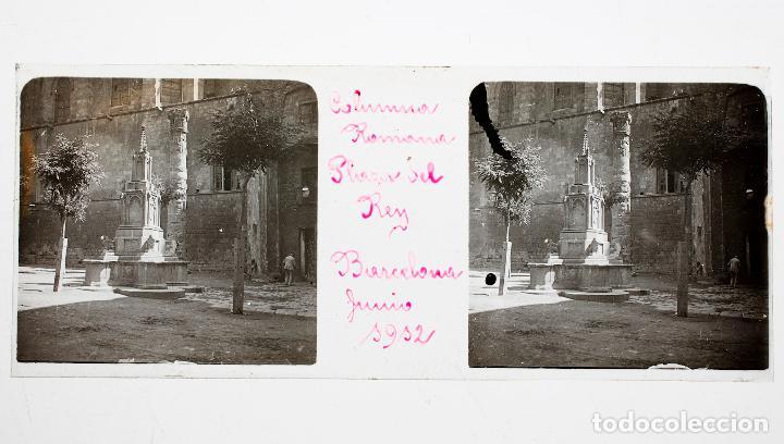 PLAZA DEL REY, BARCELONA, CON LA COLUMNA ROMANA, JUNIO 1912. CRISTAL POSITIVO 10X4CM. (Fotografía Antigua - Estereoscópicas)