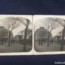 Fotografía antigua: FOTO ESTEREOSCOPICA Nº4 CASTELLÓN PLAZA DE LA PAZ S XIX 8,3X16,8CMS. Lote 61850748
