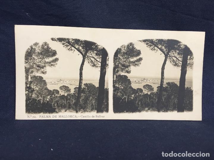 BALEARES PALMA DE MALLORCA CASTILLO BELLVER A MAS CLL MARTIN 8,2X17CMS ESTEREOSCOPICA (Fotografía Antigua - Estereoscópicas)