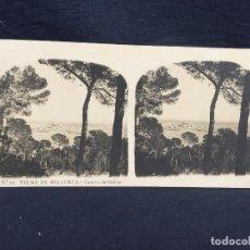 Fotografía antigua: BALEARES PALMA DE MALLORCA CASTILLO BELLVER A MAS CLL MARTIN 8,2X17CMS ESTEREOSCOPICA. Lote 62008480