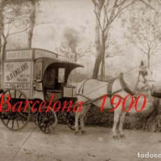 Fotografía antigua: CARRO - TAXI - BARCELONA - 1900 - NEGATIVO DE VIDRIO GRAN FORMATO . Lote 62554232