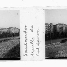 Fotografía antigua: FOTOGRAFIA ESTEREOSCOPIA EN CRISTAL. SANTANDER. MUELLE DE CALDERON. Lote 65736026