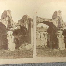 Fotografía antigua: ROMA TERMAS DE CARACALLA RUINAS ESTEREOSCOPICA S XIX. Lote 66471554