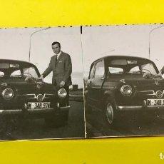 Fotografía antigua: ESTEREOSCOPICA SEAT 600 M-348.974 CON PROPIETARIO RAMO ROSAS RECIEN ADQUIRIDO ESTRENO 7,5X17,5CMS. Lote 67839517