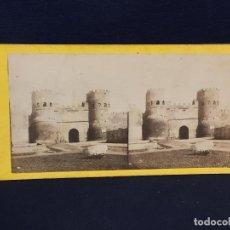 Fotografía antigua: FOTO ESTEREOSCOPICA VOYAGE EN ITALIE PORTE DE LAURENT INSCRITO A MANO EN TRASERA. Lote 143186462