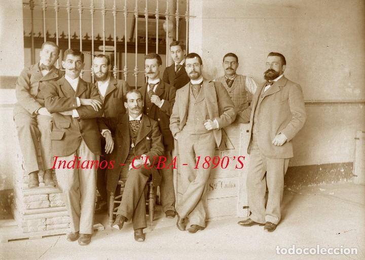 INDIANOS - CUBA - 1890'S - NEGATIVO DE VIDRIO DE GRAN FORMATO (Fotografía Antigua - Estereoscópicas)