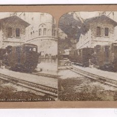 Fotografía antigua: MONTSERRAT, FERROCARRIL CREMALLERA, 1900'S. 9X17,5 CM.. Lote 83101348