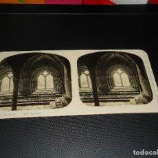 Fotografía antigua: FOTOGRAFIA ESTEREOSCOPICA - MONASTERIO DE POBLET. SALA CAPITULAR - AÑOS 20 DEL SIGLO XX. Lote 84161656