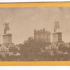 Fotografía antigua: MADRID, 1857-63 APROX. ESTATUA DE PHILIPPE IV, ALBÚMINA 9X18CM SIN DATOS. Lote 84198628