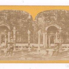 Fotografía antigua: MADRID, JARDINES. 1857-63 APROX. FOTO ESTEREO 9X18CM.. Lote 84199812