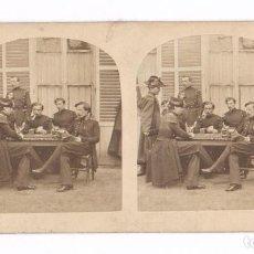 Old photograph - CAMP DE CHALONS, 1857. Militares franceses en campaña, estereo 8,5x17,5cm. - 84917028