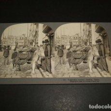 Fotografía antigua: SEVILLA VENDEDOR DE VERDURAS VISTA ESTEREOSCOPICA 1908 STEREOTRAVEL CO.. Lote 86837332