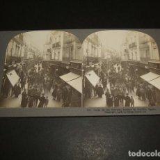 Fotografía antigua: SEVILLA CALLE DE LAS SIERPES VISTA ESTEREOSCOPICA 1908 STEREOTRAVEL CO.. Lote 86837364