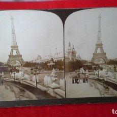 Fotografía antigua: ANTIGUA FOTOGRAFÍA ESTEREOSCÓPICA SOBRE CARTÓN TORRE EIFEL. PARIS. Lote 87592496