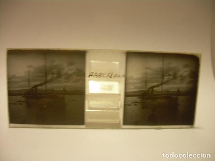 Fotografía antigua: INTERESANTE CRISTALES ESTEREOSCOPICOS....BUQUES BARCOS PUERTO DE BARCELONA.....TOTAL 13 UDS. CA 1909 - Foto 11 - 88919348