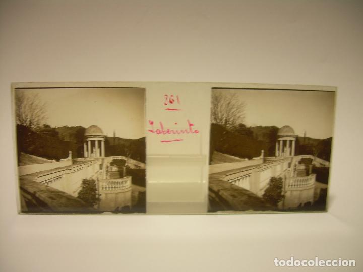 Fotografía antigua: ALREDEDORES DE BARCELONA,FUNICULAR, VALLVIDRERA LABERINTO HORTA 23 CRISTAL ESTREOSCOPICO- CA.1910 - Foto 2 - 89093603