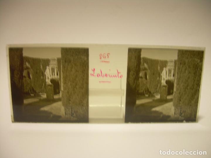 Fotografía antigua: ALREDEDORES DE BARCELONA,FUNICULAR, VALLVIDRERA LABERINTO HORTA 23 CRISTAL ESTREOSCOPICO- CA.1910 - Foto 3 - 89093603