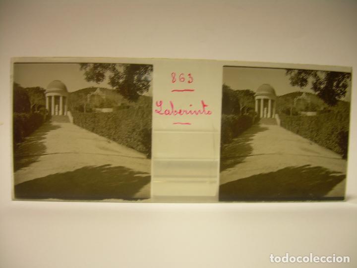 Fotografía antigua: ALREDEDORES DE BARCELONA,FUNICULAR, VALLVIDRERA LABERINTO HORTA 23 CRISTAL ESTREOSCOPICO- CA.1910 - Foto 4 - 89093603