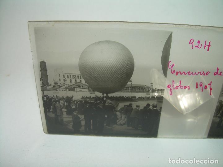 Fotografía antigua: BARCELONA,CONCURSO GLOBOS AEROSTÁTICOS - CUATRO CRISTAL ESTEOSCOPICO.....AÑO 1.907 - Foto 2 - 89095028