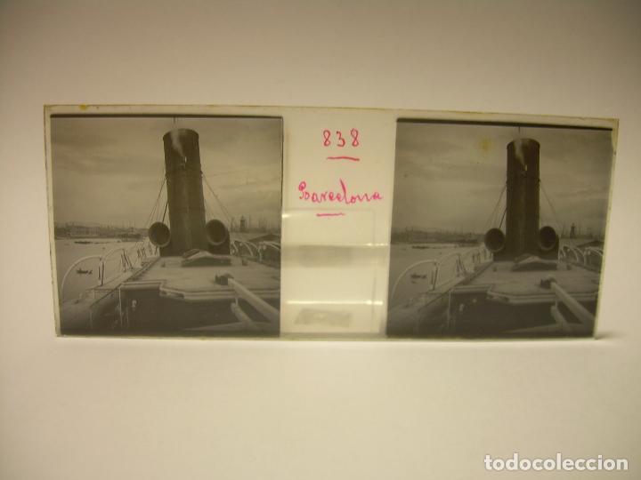 Fotografía antigua: DIEZ CRISTALES ESTEREOSCOPICOS..BARCELONA....TEMA BUQUES..CA.1.905 - Foto 11 - 89103388