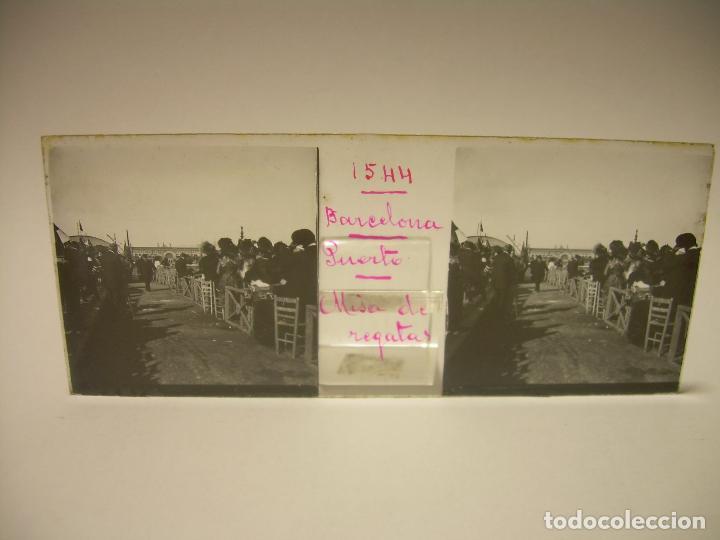Fotografía antigua: PUERTO DE BARCELONA COMPETICIÓN REGATAS PALCO DE LA PRESIDENCIA-3 CRISTAL ESTEREOSCOPICO- CA.1.900 - Foto 3 - 89103856