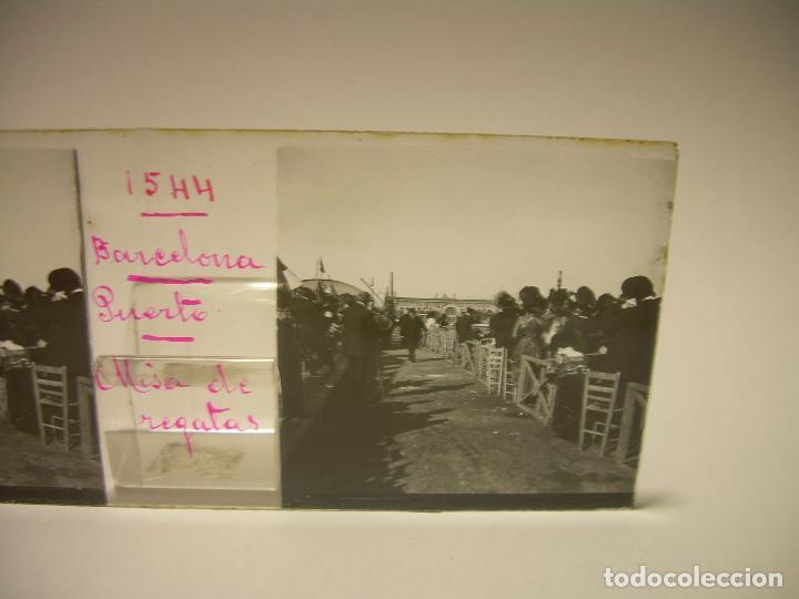 Fotografía antigua: PUERTO DE BARCELONA COMPETICIÓN REGATAS PALCO DE LA PRESIDENCIA-3 CRISTAL ESTEREOSCOPICO- CA.1.900 - Foto 4 - 89103856