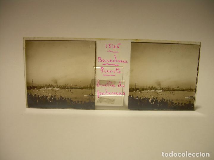 Fotografía antigua: PUERTO DE BARCELONA COMPETICIÓN REGATAS PALCO DE LA PRESIDENCIA-3 CRISTAL ESTEREOSCOPICO- CA.1.900 - Foto 5 - 89103856