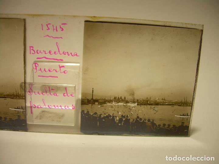 Fotografía antigua: PUERTO DE BARCELONA COMPETICIÓN REGATAS PALCO DE LA PRESIDENCIA-3 CRISTAL ESTEREOSCOPICO- CA.1.900 - Foto 6 - 89103856