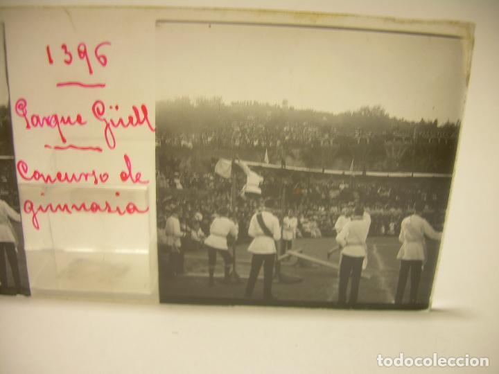 Fotografía antigua: BARCELONA,PARQUE GUELL- CONCURSO DE GIMNASIA - 6 CRISTAL ESTEREOSCOPICO- CA.1.900 - Foto 5 - 89104004