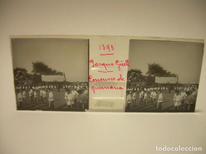 Fotografía antigua: BARCELONA,PARQUE GUELL- CONCURSO DE GIMNASIA - 6 CRISTAL ESTEREOSCOPICO- CA.1.900 - Foto 6 - 89104004