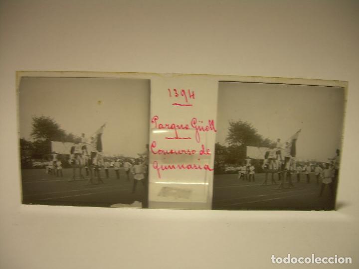 Fotografía antigua: BARCELONA,PARQUE GUELL- CONCURSO DE GIMNASIA - 6 CRISTAL ESTEREOSCOPICO- CA.1.900 - Foto 12 - 89104004