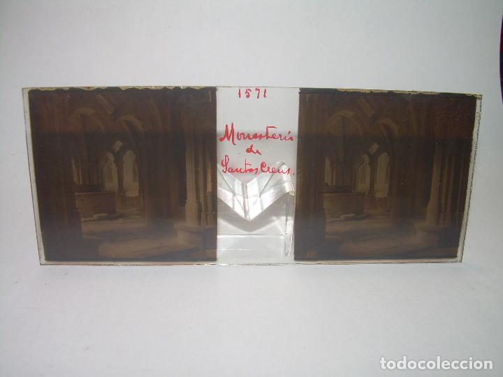 Fotografía antigua: TRES CRISTALES ESTEREOSCOPICOS.......SANTAS CREUS.......CIRCA. 1.900 - Foto 2 - 89666368