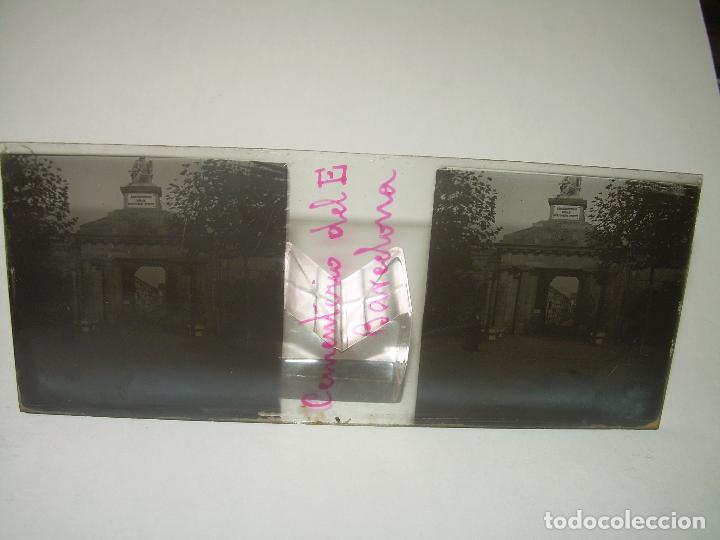 Fotografía antigua: TRES CRISTALES ESTEREOSCOPICO.......CEMENTERIO DE BARCELONA.......CIRCA. 1.900 - Foto 2 - 89886948