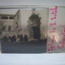 Fotografía antigua: DOS CRISTALES ESTEREOSCOPICOS.......IGLESIA DE S.ESTEBAN DE PALAUTORDERA.......CIRCA. 1.900. Lote 89902792