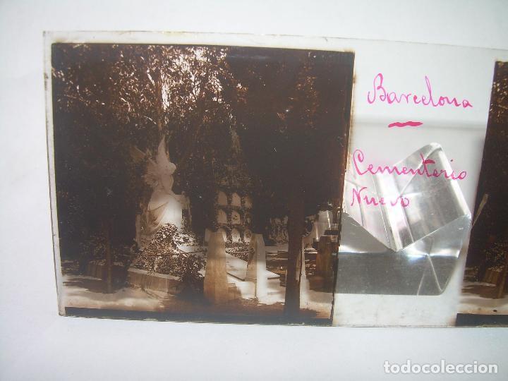 Fotografía antigua: TRES CRISTALES ESTEREOSCOPICO.......CEMENTERIO DE BARCELONA.......CIRCA. 1.900 - Foto 4 - 89886948